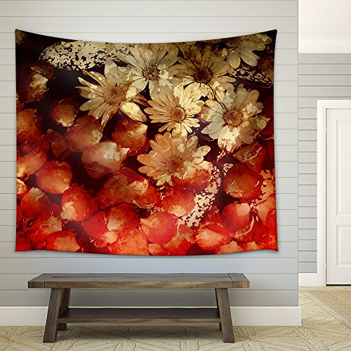 Innocence in Nature Painted Flowers Art Abstract Fabric Wall Tapestry
