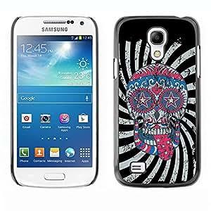 LASTONE PHONE CASE / Diseño de Delgado Duro PC / Aluminio Caso Carcasa Funda para Samsung Galaxy S4 Mini i9190 MINI VERSION! / Cool Crazy Psycho Hipster Sugar Skull USA Flag