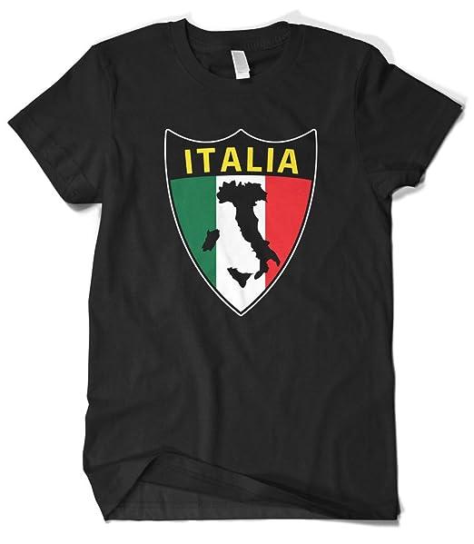 Amazon.com: cybertela Bandera de Italia Shield playera para ...