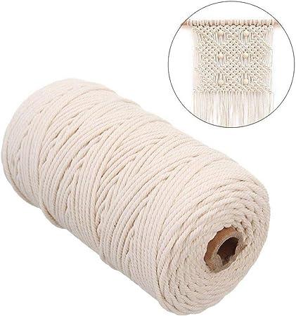 Mondeer - Cordón de algodón de macramé de 3 mm x 200 m, Color Beige, para Colgar en la Pared: Amazon.es: Hogar