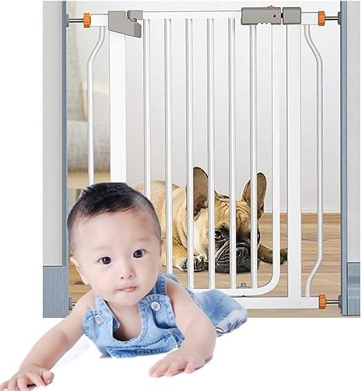 HONGAN Puerta De Bebé Barandilla Cerca De Aislamiento For Bebés Puerta De Bebé Montaje A Presión Perforación Gratuita Escalera For Mascotas Barra De Puerta Cerradura Doble Cierre Automático: Amazon.es: Hogar