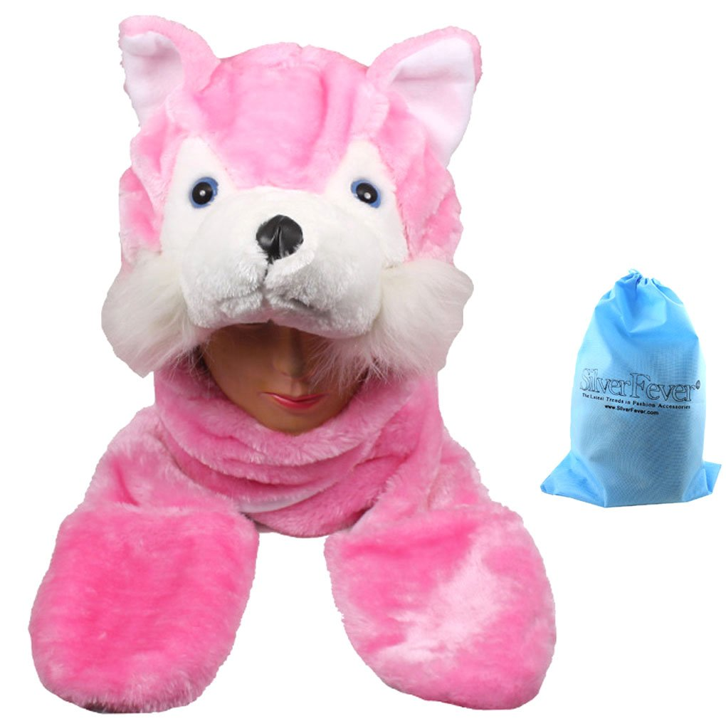 Silver Fever® Plush Soft Animal Beanie Hat with Built-in Earmuffs, Scarf, Gloves Gloves (Bear Cub) SF-Plush