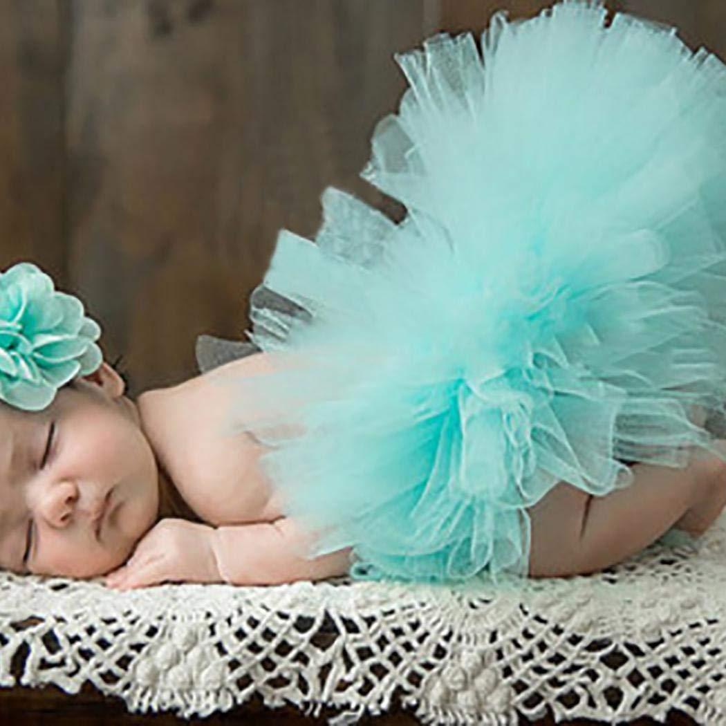Hello22 Newborn Baby Girls Birthday Layered Tulle Photo Photography Prop Tutu Skirt Dress Headband Set Ages 0-12Month