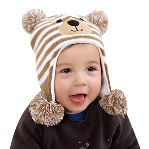 9eeeb395610 Amazon.com  MIOIM Cute Baby Girls Boys Winter Hat Cartoon Teddy Bear Crochet  Knit Fleece Cap Winter Warm Earmuffs Hat Skiing Cap Ear Flap  Clothing