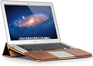 """QIALINO MacBook Air 11 inch Stand Case with Ultra Vent Design, Slim Folio Flip Genuine Leather Cover, Laptop Protective Sleeve for Apple MacBook air 11.6"""""""