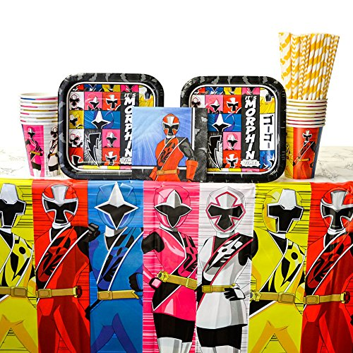 Power Rangers Ninja Steel Party Supplies Pack for 16 Guests - Straws, Dessert Plates, Beverage Napkins, Cups, and Table Cover