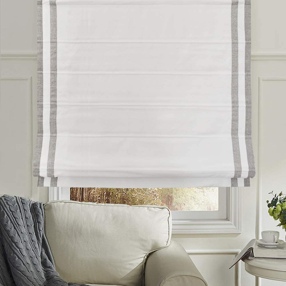 Premium Light Filtering Roman Window Shades French Doors Kitchen Windows Roman Shades Window Blinds Easy Care Roman Shades for Windows White 20 W x 36 H Inches Doors