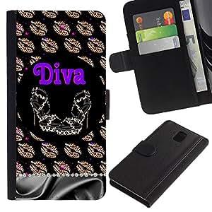 KingStore / Leather Etui en cuir / Samsung Galaxy Note 3 III / Chica Eva Dios Eden Dibujo Blanca;