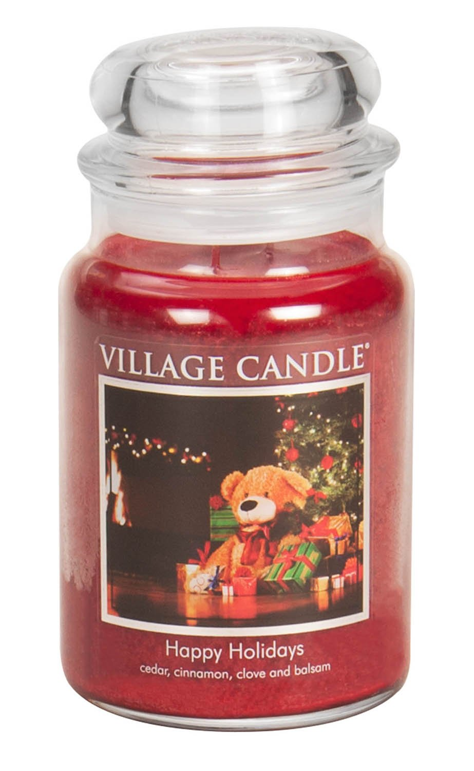 Village Candle Happy Holidays 11 oz Glass Jar Scented Candle Small