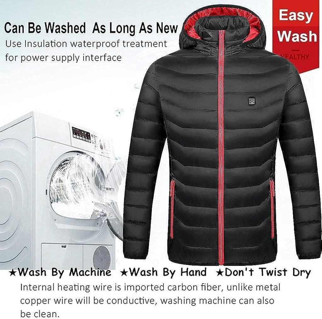 Womens Heated Coats USB Charging Electric Heating Warm Overcoat Winter Waterproof Windproof Fleece Down Jacket