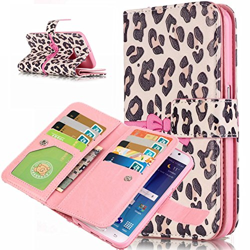 Galaxy S6 Edge Case, Easytop Luxury PU Leather Wallet Case Magnet Closure Credit Card Holder Flip Cover Case Built-in 9 Card Slots & Stand Case for Samsung Galaxy S6 Edge (Leopard Pink Bow Knot) (Closure Knot Adjustable)