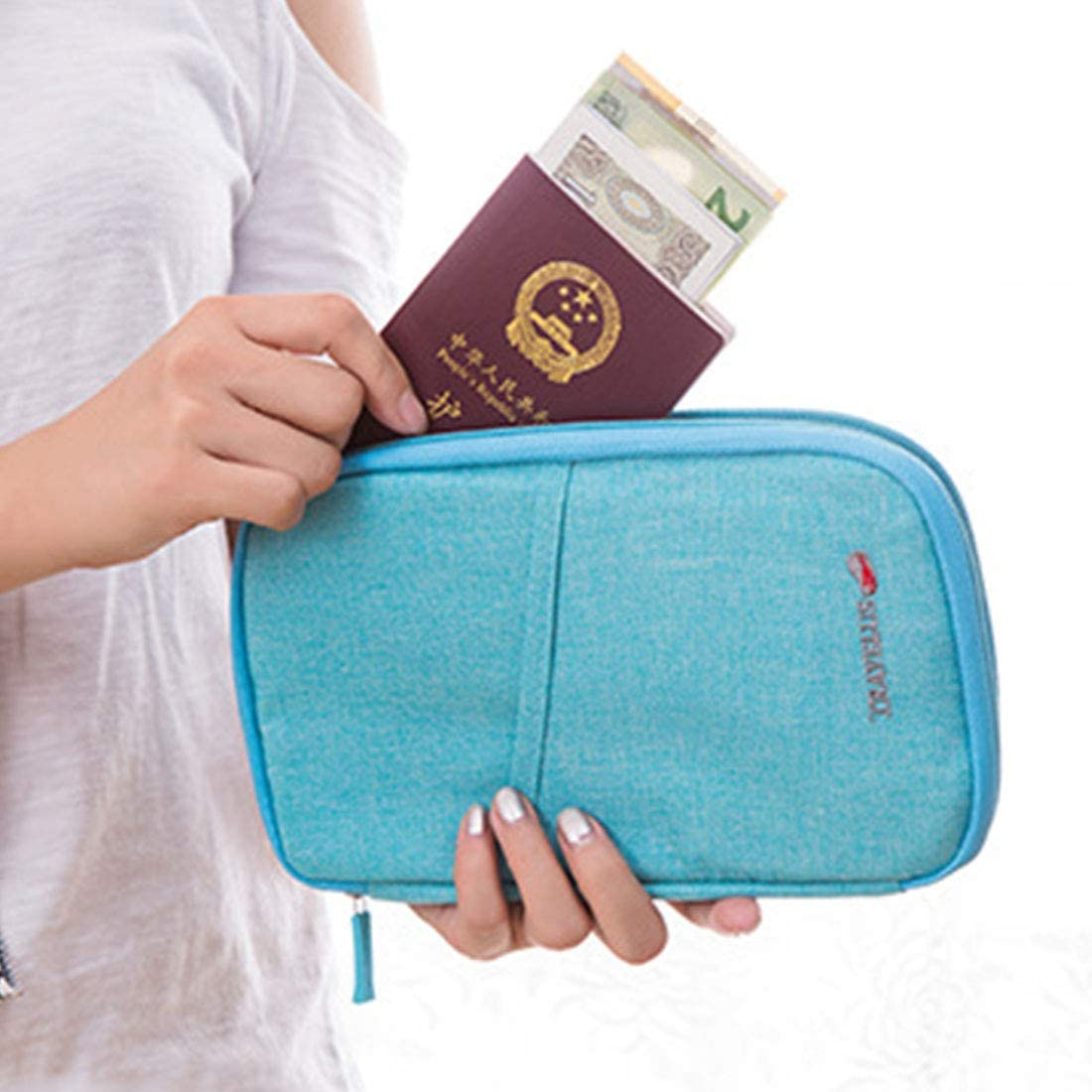 Travel Wallet Large Capacity Double Side Portable Passport Holder Blue