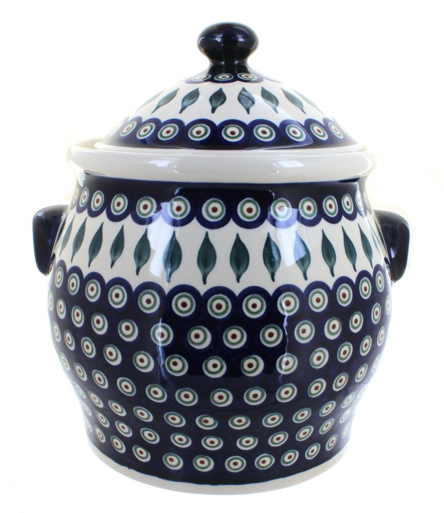 Polish Pottery Peacock Cookie Jar
