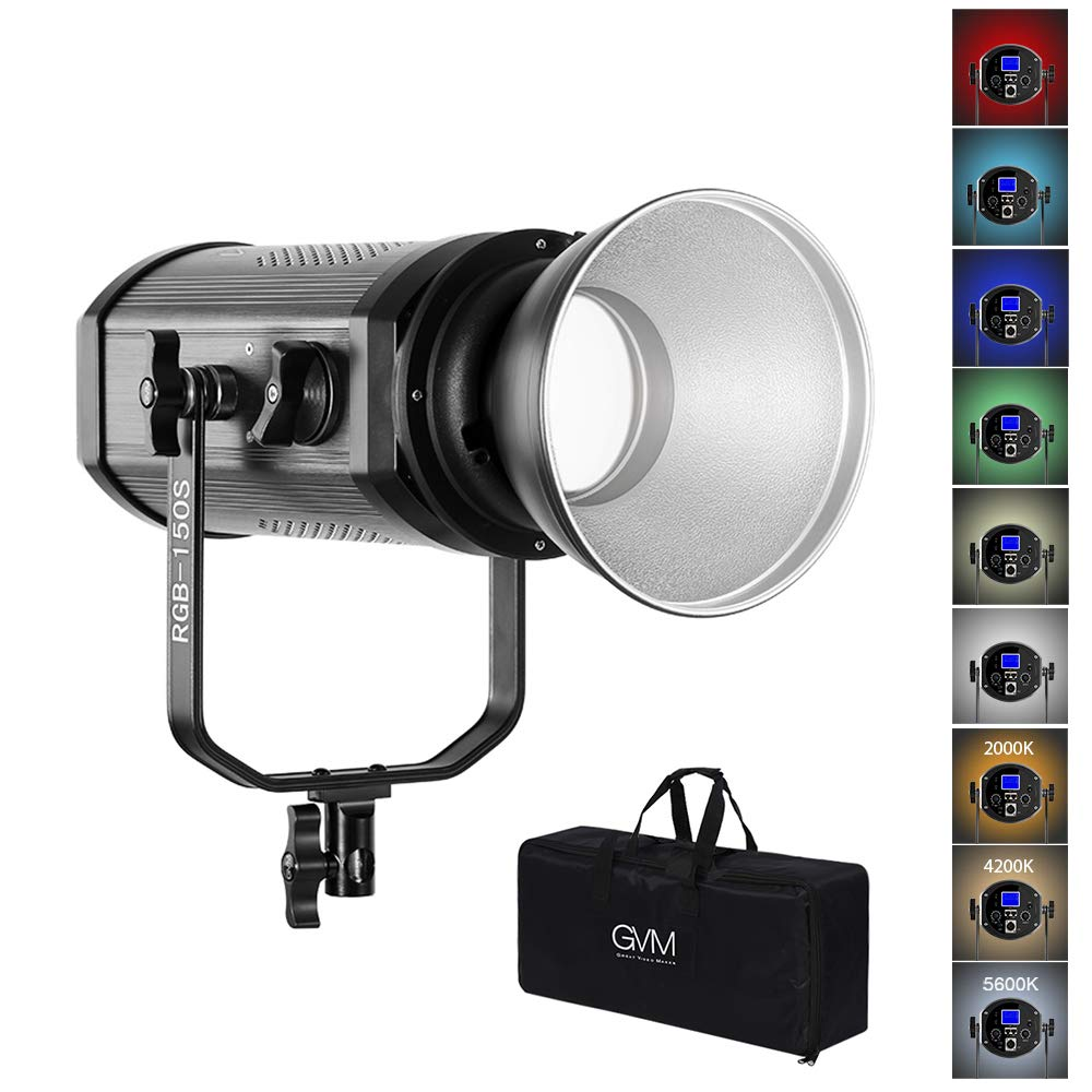GVM 150W RGB Video Lights with Bowens Mount, Dimmable Bi-Color / Full Color Output 3200K-5600K 22000LUX LED Continuous Photography Light Kit for YouTube Studio Boardcast TV Interview, CRI 95+ by GVM Great Video Maker