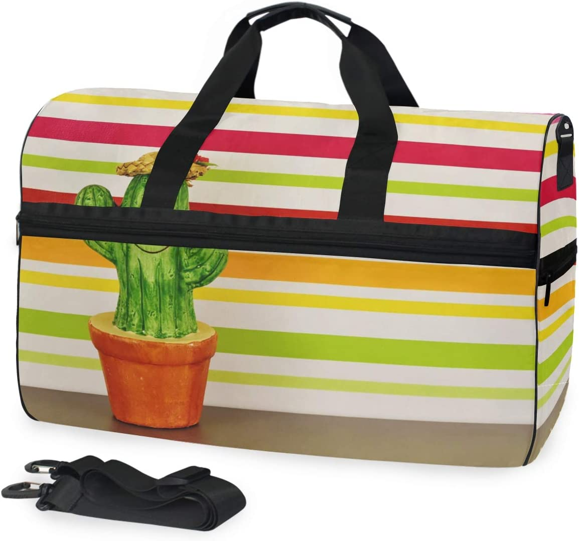 MUOOUM Funny Colorful Cactus Large Duffle Bags Sports Gym Bag with Shoes Compartment for Men and Women
