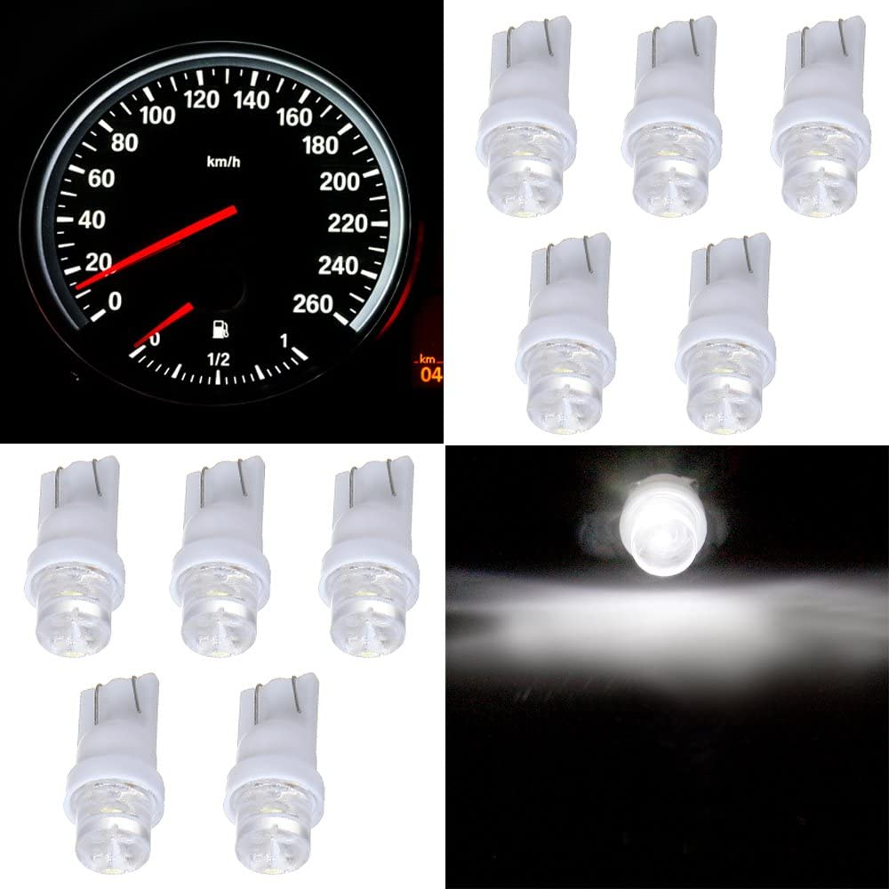 10 Pack White T10 168 194 Led Bulbs Instrument Cluster Panel Dash Spread Light