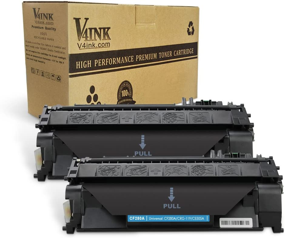 V4INK 2PK Compatible Toner Cartridge Replacement for HP 80A CF280A Toner Cartridge for use with HP Laserjet Pro 400 M401dne Pro 400 M401n Pro 400 M401dn M401dw Pro 400 MFP M425dn M425dW Printer