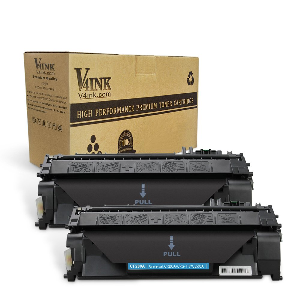 V4INK 2 Pack Compatible Toner Cartridge Replacement for 80A CF280A for use in LaserJet Pro 400 M401dne, Pro 400 M401n, Pro 400 M401dn, Pro 400 M401dw, Pro 400 MFP M425dn series printers