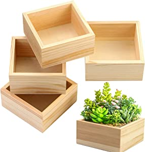 Fireboomoon 4 Pack Unfinished Wooden Box,Rustic Small Wood Square Storage Organizer Container Craft Box for DIY Craft Collectibles Home Venue Desktop Drawer Decor Succulent Pot