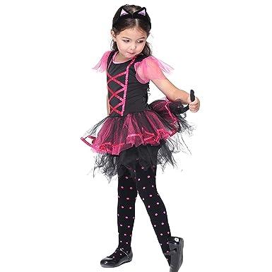JTENGYAO Kinder Mädchen Katze Kleid Halloween Party Mit Haarband ...