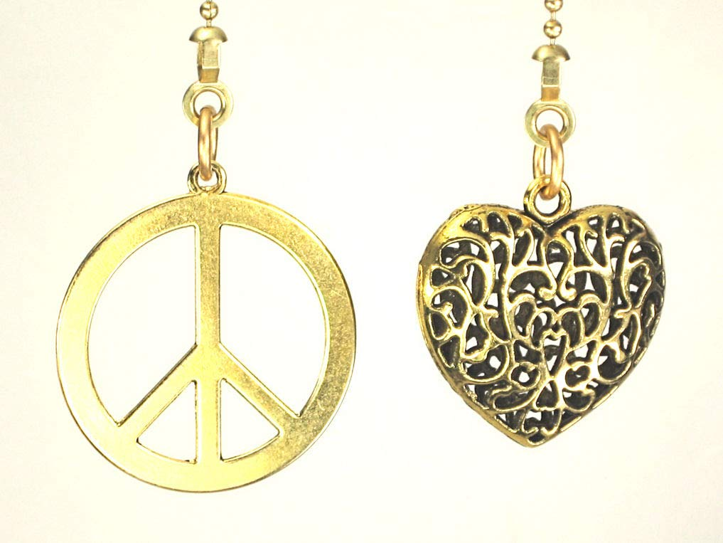 Peace and Love 2-Piece Ceiling Fan Pulls Set