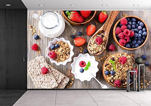wall26 - Breakfast with Muesli, Berries, Crisp Bread and Yogurt - Removable Wall Mural | Self-adhesive Large Wallpaper - 66x96 (Vegetarian Yogurt)