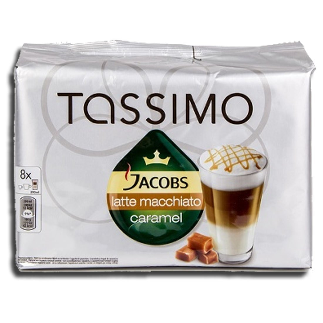 Factory Sealed Pack Tassimo T-Disc Pods Jacobs Caramel Latte Macchiato Coffee - 8 Servings - Includes Creamer Pods
