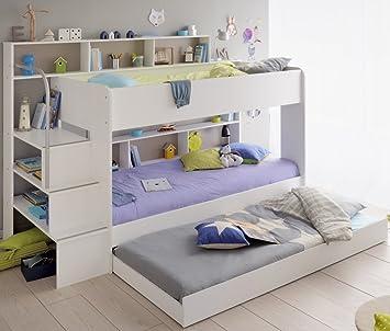 90x200 Kinder Etagenbett Weiß Grau Mit Bettkasten Treppe Und