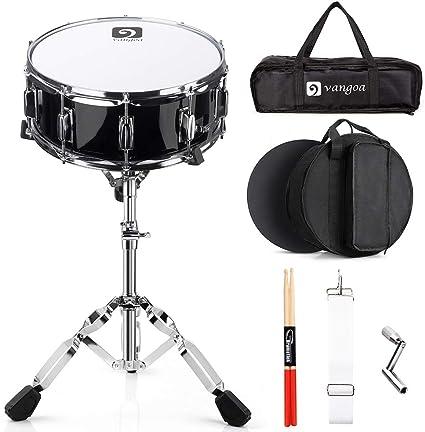 Vangoa Snare Drum Set, Caja de Tambor 14 pulgadas Profesional, 10 clavijas de afinación, cavidad de madera de arce ...