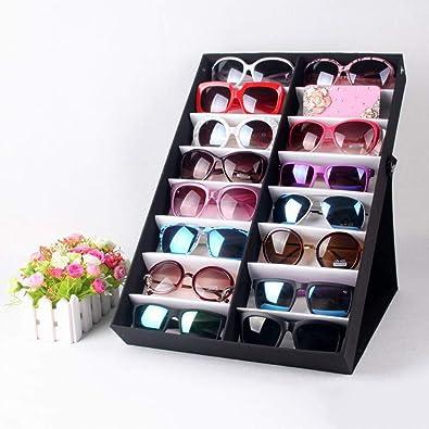 Caja para gafas de sol Gafas de sol Estuche de exhibición Gafas Gafas Almacenamiento Caja de presentación con tapa plegable para gafas y organizador de joyería (16 compartimentos) Almacenamiento de ga: Amazon.es: