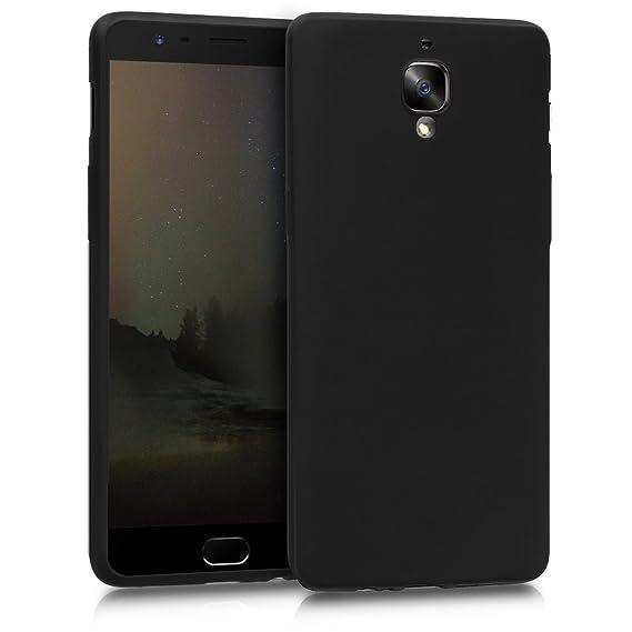 kwmobile Funda para OnePlus 3 / 3T - Carcasa para móvil en TPU Silicona - Protector Trasero en Negro Metalizado