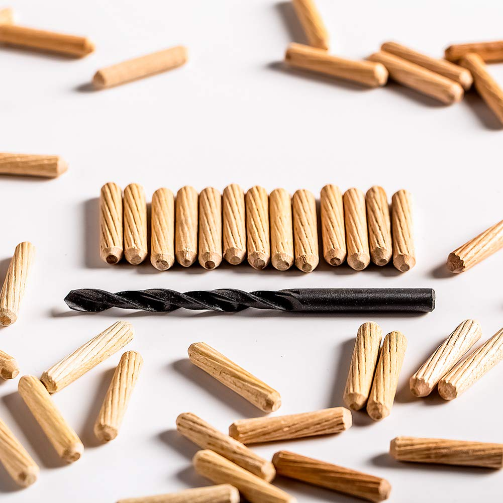 A Manual Electric Drill bit ,Wood Dowel Pins 1L 1//4W Pack of 100 Fluted Dowel Pins Beveled End,Tapered for Easier Insertion