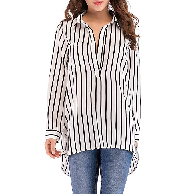 8cfb1c37912ea HOSOME Women Striped Pocket Top Casual Plus Size Sexy Long Sleeve Blouse  Long Shirt Black at Amazon Women s Clothing store