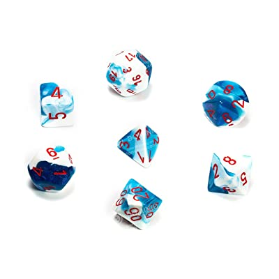 Chessex 26457CHX Gemini Polyhedral Astral Blue-White w/red 7-Die Set, Multicolor: Toys & Games