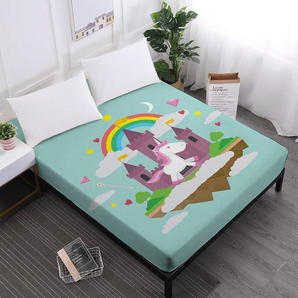 JessyHome Unicorn Sheets Full,3D Fitted Sheet,Rainbow Bedding Bed Sheet,Blue