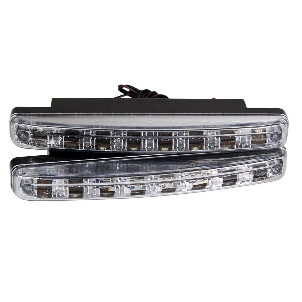TOOGOO nuevo 2pcs Alta calidad Super White 8 LED Luces diurnas 12V DC Faro Lampara de estacionamiento universal 12V