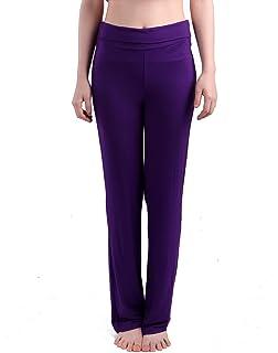 4f81ae8b6ae3 HDE Women s Color Block Fold Over Waist Yoga Pants Flare Leg Workout  Leggings