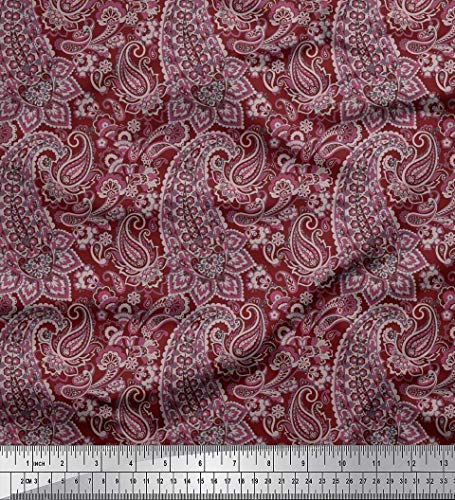 Soimoi Red Cotton Voile Fabric Artistic Paisley Print Fabric by Yard 42 Inch Wide