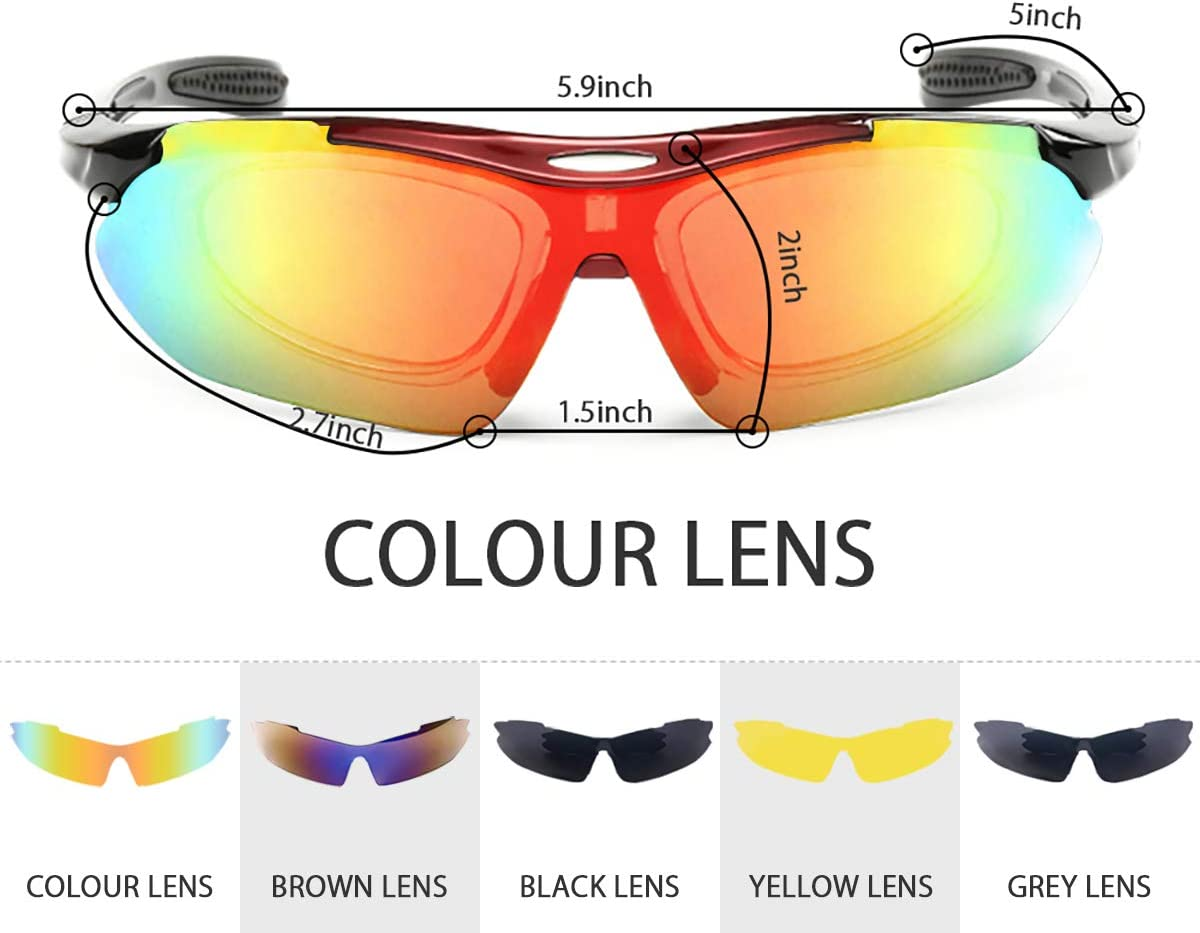 Cycling Glasses, NEW RUICHENG Sport Glasses Polarized Sports Sunglasses with 5 Interchangeable Lenses Anti-UV400 Protection Sunglass Goggles Outdoor Fishing Driving Polarised Sport Glasses Men Women