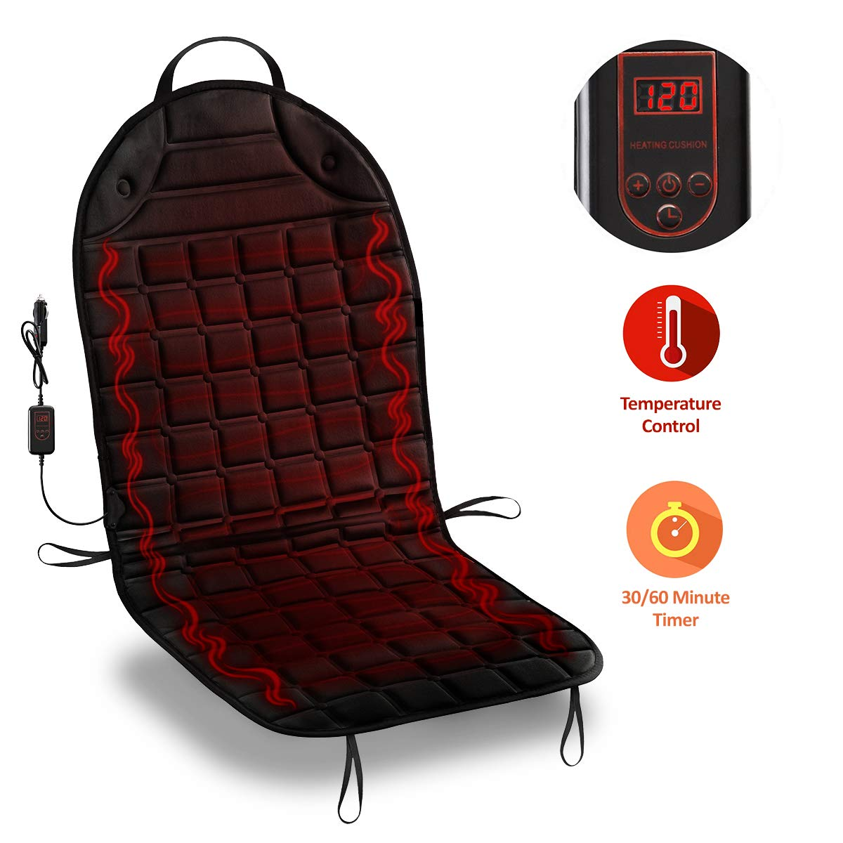 Zone Tech Car Heated Seat Cover Cushion Hot Warmer - 12V Classic Black Heating Warmer Pad Hot Cover Perfect for Cold Weather and Winter Driving