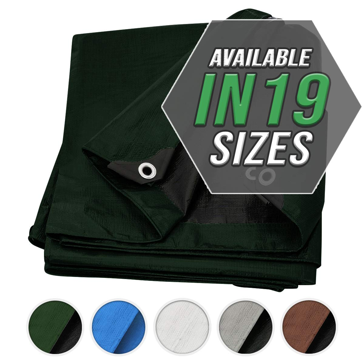 Great for Tarpaulin Canopy Tent Boat Waterproof Heavy Duty Poly Tarp Brown//Black Tarp Cover Brown//Black Heavy Duty Thick Material RV Or Pool Cover
