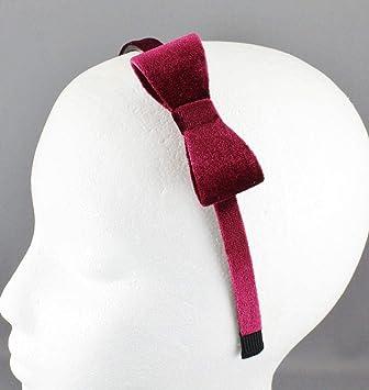 Burgundy Velvet Velour Headband Side Bow Hair Band Grip Teeth 3 8 quot   Wide Dressy 25c9664f060