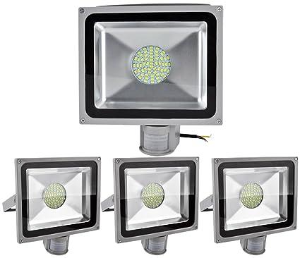 ALPHA DIMA 4pcs Foco LED 50W con Sensor de Movimiento,smd LED Luz de Inundación