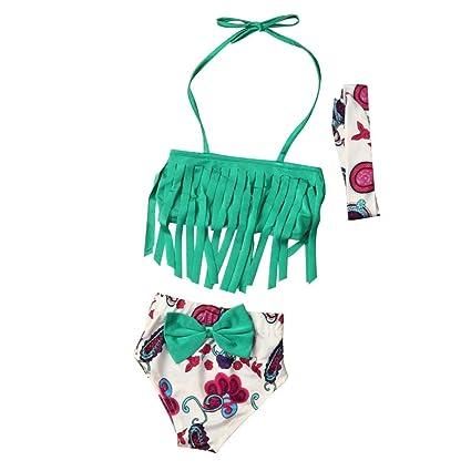 7c242df2801e0 GBSELL 3Pcs Toddler Kids Baby Girls Tassels Bow Swimwear Swimsuit Bikini  Beachwear (Green, 1T