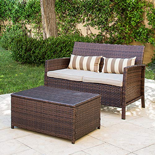 Solaura 2-Pieces Outdoor Furniture Brown Wicker Bistro Set Light Brown Cushions with Classic Gold Stripe Throw Pillows& Coffee Table Built-in Storage Bin