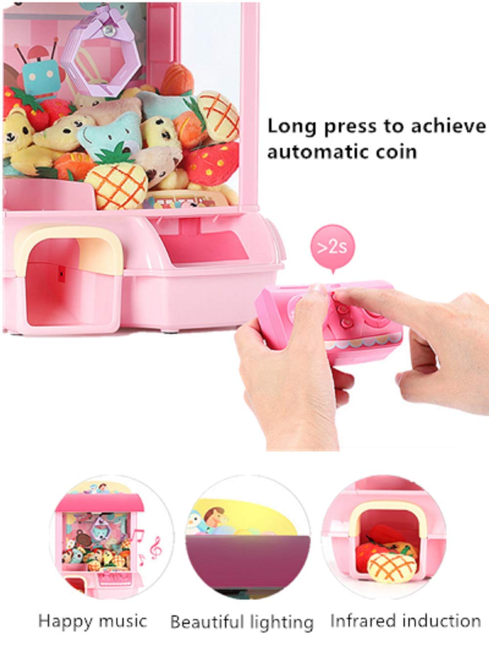 ForBEST Claw Machine Doll Machine with Removable Remote Control, USB Cable, 6 Dolls, Adjustable Sounds and Lights, Best Gift Toy for Kids (Pink) by For BEST (Image #9)