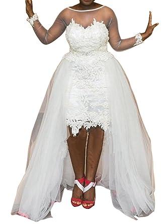 Kiss Rain Womens Plus Size High Low Wedding Dress With Long Sleeve