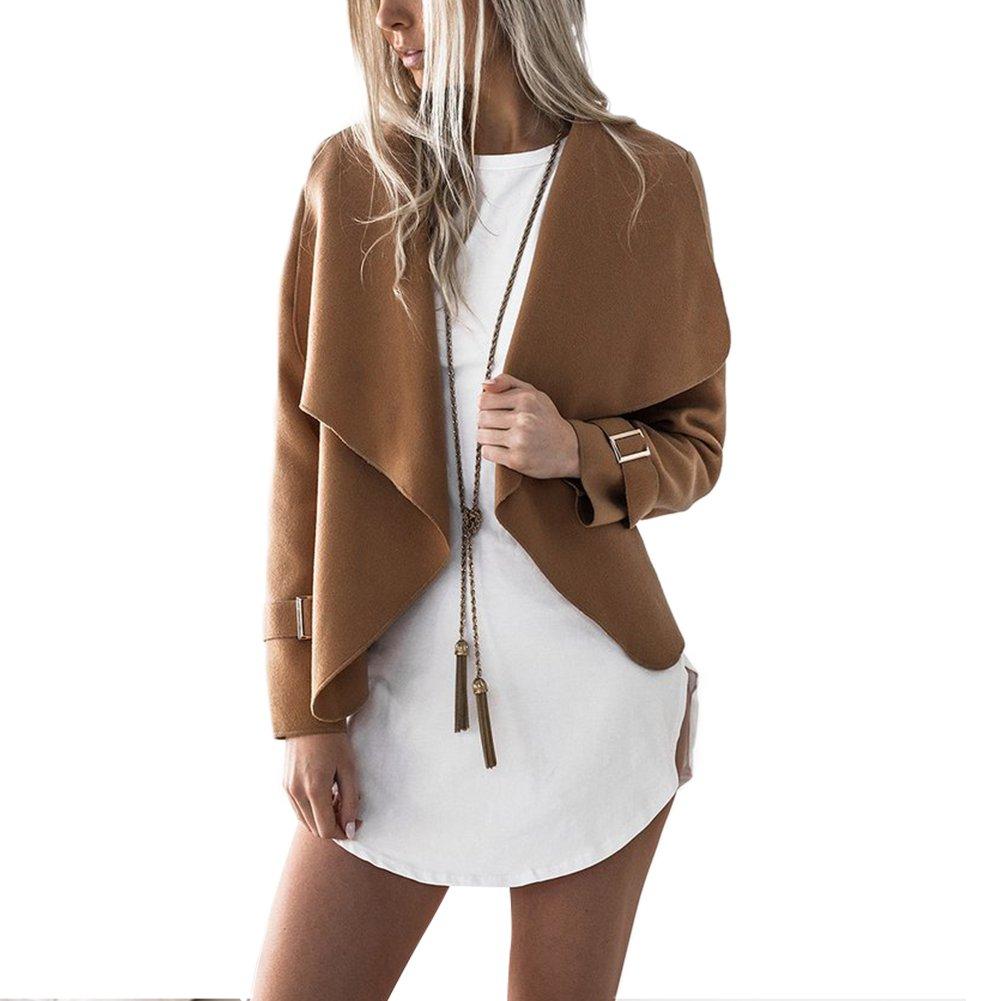 BOHISEN Women's Long Sleeve Lapel Collar Open Front Blazer Drape Jacket Cardigan Coat Light Tan L