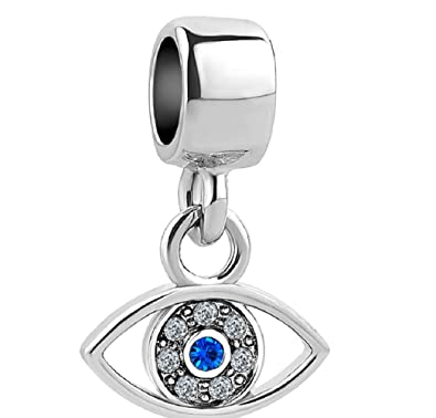 c00d0bcb5 Image Unavailable. Image not available for. Color: Charmed Craft Dangle  Charms Blue Crystal Evil Eye Charms Beads for Charm Bracelets