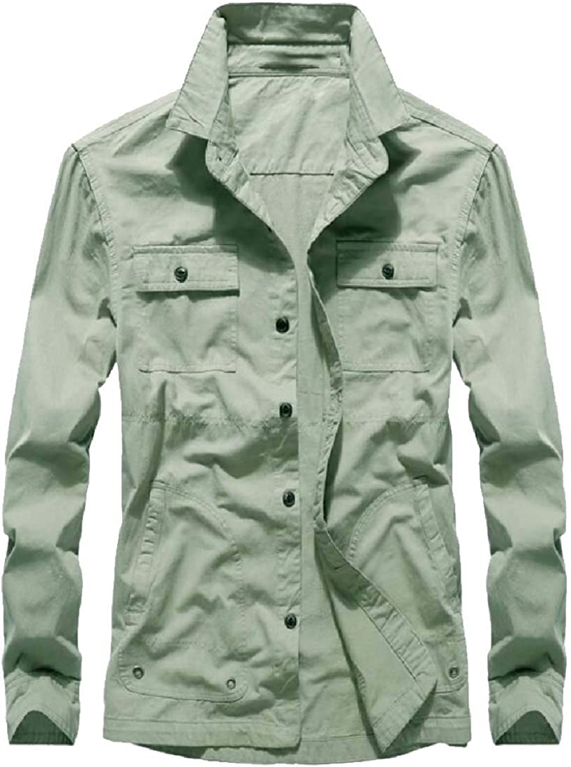 WSPLYSPJY Mens Classic Retro Military Multi-Pocket Long Sleeve Button Down Shirt